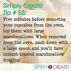 Simply Create Cupcakes with marshmallows Baking Secrets, Baking Tips, Baking Recipes, Baking Hacks, Baking Substitutions, Frosting Recipes, Cupcake Recipes, Dessert Recipes, Cupcakes
