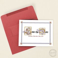 Having a medieval or renaissance themed event? You totally need these illuminated manuscript-inspired save the date cards! | Wedding Invitations by CharmCat Stationery & Design