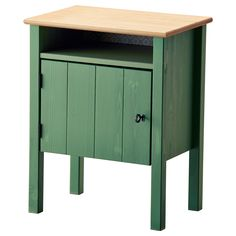 "HURDAL Nightstand, green (IKEA) (""The solid pine shows off the attractive grains and beauty mark knots that give each unique piece its own naturally grown, individual personality."" 13 3/8"" D x 24 3/8"" H [height under furniture: 7 7/8""] x 19 1/4"" W) /// [Main parts: Solid pine, Stain, Clear acrylic lacquer; Back panel: Fiberboard, Fiberboard, Foil]"