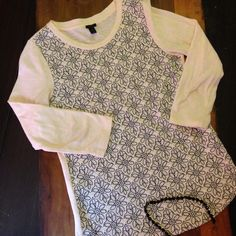 J Crew Embroidered Top Navy and cream. Excellent condition. Gorgeous stitching! J. Crew Tops Tees - Long Sleeve