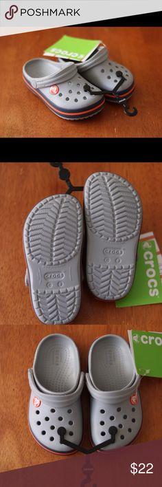 Brand new Boys sandals size 8 Size 8 gray, navy, and orange crocs CROCS Shoes Sandals & Flip Flops
