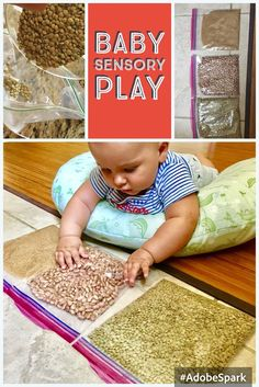Take beans sugar green peas or any dry goods from your cabinet. Poor in the ziplock bag and tape to the floor table high chair. Baby Sensory Bags, Baby Sensory Play, Baby Play, Sensory Wall, Sensory Boards, Baby Learning Activities, Infant Sensory Activities, 10 Month Old Baby Activities, Kids Learning