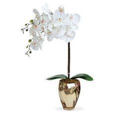 Arranjo de Flores Artificiais Orquideas no Vaso Dourado 45x15 cm