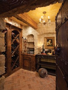 Large antique doors from Albuquerque make an immediate statement leading into the wine room. Bodega Bar, Wine Cellar Basement, Home Wine Cellars, Wine Cellar Design, Antique Doors, In Vino Veritas, Italian Wine, Tuscan Style, Tasting Room