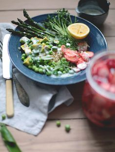 spring abundance bowl  peas, asparagus, radishes  yogurt-dill dressing  pickled radish