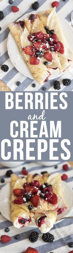 Excellent filling and berry recipe. Berries and cream crepes are filled with a cheesecake like filling, and sweet juicy berries for a decadent breakfast or dessert. Crepe Recipes, Brunch Recipes, Dessert Recipes, Desserts, Pancake Recipes, Waffle Recipes, Yummy Recipes, Cheese Cake Filling, Crepes Filling