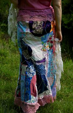 Gypsy Nature Patchwork Long Skirt by RagsForGypsies on Etsy, £70.00