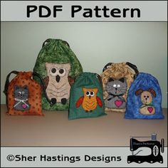 Download Pet Lover's Gift Bags, Treat Bags, Favor Bags Sewing Pattern | Applique | YouCanMakeThis.com