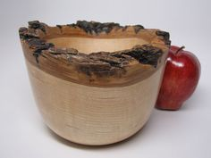 Natural Bark Edge Oak Wooden Bowl Turned from Oak Wood One of a Kind – Holiday Gift