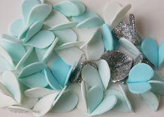 Gum Paste Hearts - Cool Colors