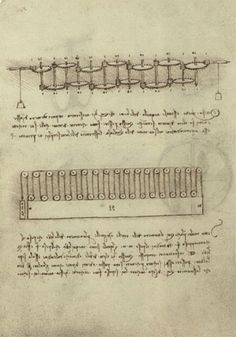 A sketch, picturing a mechanism, which is very likely to be designed for calculating purposes, Leonardo da Vinci