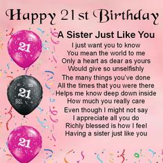 Personalised Coaster - Sister Poem - 21st Birthday + FREE GIFT BOX