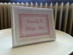 Candy und chips bar schild