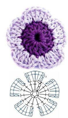 How to Crochet a Puff Flower Crochet Ring Patterns, Crochet Motifs, Granny Square Crochet Pattern, Crochet Diagram, Crochet Chart, Crochet Designs, Knitting Patterns, Crochet Flower Tutorial, Crochet Diy