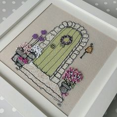 My country cottage embroidered picture. Sketched then filled in with fabric scraps secured with freemotion machine embroidery. French knot flowers added one-by-one. Perfect new home gift. Have one made from your photo for a special gift. Freehand Machine Embroidery, Free Motion Embroidery, Machine Embroidery Projects, Learn Embroidery, Silk Ribbon Embroidery, Free Machine Embroidery, Embroidery Hoop Art, Hand Embroidery Patterns, Etsy Embroidery