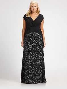 For formal occasions in 2014 the plus-sized trend is dynamic waist-lines.  Whether a-line, crossed, or gathered- do not look for traditional waists.  We love this cut because it incorporates lace, a v-neck cut, and an inverted waist.  Long dresses are also the style for formal-wear!