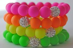 Items similar to Summertime Neons stretch bracelet STACK with Swarovski Diso Pave Beads on Etsy Neon Jewelry, Kids Jewelry, Beaded Jewelry, Handmade Jewelry, Jewlery, Neon Bracelets, Stretch Bracelets, Beaded Bracelets, Stackable Bracelets