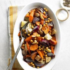 {Fuss-Free Side Dishes} Roasted Vegetables & Chickpeas