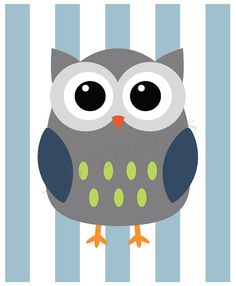 Gray and Blue Owl with Blue Stripe Background Nursery by LJBrodock, $8.00