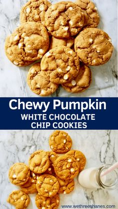 A Fall favorite dessert in our house these Chewy Pumpkin White Chocolate Chip Cookies give a whole new life to the once only cakey cookie They are a must have Fall treat We Three Shanes Pumpkin Cookies, Pumpkin Dessert, Pumpkin Cookie Recipe, Pumpkin Recipes, Fall Recipes, Baking Recipes, Dessert Recipes, White Chocolate Chip Cookies, White Chocolate Recipes