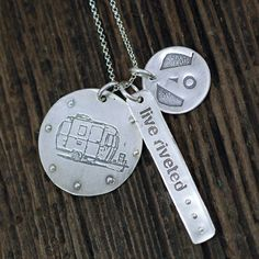 "Airstream Jewelry - """"Live Riveted"""" Tag, Logo Charm and Trailer Round Medallion with Rivets"