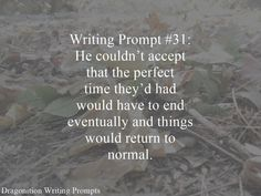 Writing Prompt #31: He couldn't accept that the perfect time they'd had would have to end eventually and things would return to normal.