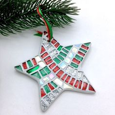 Items similar to Set of of 2 or 4 Mosaic Star Ornaments, Mosaic Christmas, Star Christmas Ornaments, Mosaic Star Ornament, Modern Holiday Hostess Gift on Etsy Star Ornament, Diy Christmas Ornaments, Christmas Projects, Holiday Crafts, Christmas Decorations, Christmas Mosaics, Stained Glass Christmas, Christmas Star, Mosaic Crafts