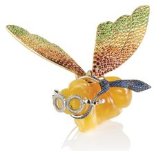 Spouses John and Julie Buckareff created this 'Yellow Baron' brooch with fluttering wings in 2006.