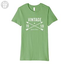 Womens 1959 Birthday Gift Vintage Crossed Arrows T-Shirt Large Grass - Birthday shirts (*Amazon Partner-Link)