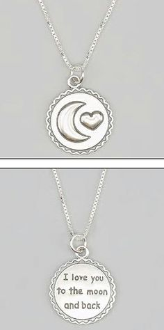 'I Love You to the Moon and Back' Necklace This remenbers me Goo Jun Pyo and Geum Jan Di . Moon Jewelry, Jewlery, Back Necklace, Moon Necklace, Jewelry Accessories, Fashion Accessories, Love You, My Love, Stars And Moon