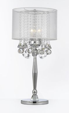 """Size: W 14"""" H 29.5"""" L 14"""" 3 Lights GO-T204-GM-C0036T-W Gallery Table Lamps Silver Mist 3 Light Chrome Crystal Table Lamp with White Shade Contemporary"""