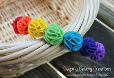 Rainbow Crown Headband- Crayon box colors- Wool Felt Poufs. $12.00, via Etsy.