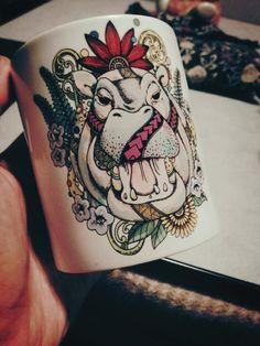 "My Mug ""Hippo & Jacaranda(Society6)"" - Noah's ART"