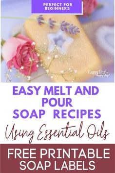 Easy Melt And Pour Soap Recipes Using Essential Oils with Free Printable Soap Labels! Learn how to make this beautiful soap - its easier than you think! Make 12 bars in about an hour! Cool Gifts For Women, Gifts For Teens, Melt And Pour, Soap Labels, Do It Yourself Inspiration, Rose Soap, Lavender Soap, Goat Milk Soap, Soap Recipes