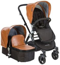 Babyroues Letour Lux II Stroller & Bassinet - Camel Leatherette