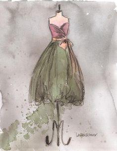 CLEARANCE Original - Watercolor and Charcoal - Vintage Dress Painting - Vintage Brooke Dress - 11x14 - Lauren Maurer Artworks on Etsy via Etsy