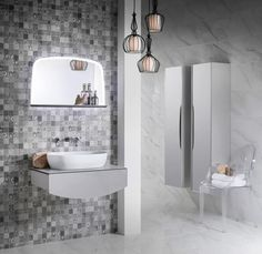 Opula Maxi Pack Pack Includes: Washbasin Unit Illuminated Mirror with Shelf Toilet Unit with Cistern & Chrome Push Button Tall Storage Unit Shelves, Vintage Bathroom, Glass Shelves Kitchen, Glass Shelves, Amazing Bathrooms, Vintage Bathroom Mirrors, Modular Furniture, Mirror, Illuminated Mirrors