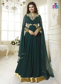aa6ba5db9d Prachi Desai Georgette Patch Work Green Semi Stitched Long Anarkali Suit -  2945 In Stock  Rs