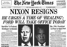 Richard Nixon resigns Presidency- Ford takes office