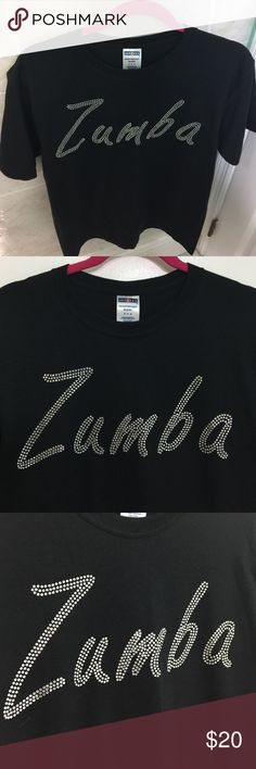 Rhinestone ZUMBA tshirt Brand new, Glidan size Medium, (50% cotton/50% poly, machine washable) great for working out or lounging out, rhinestones do NOT come off after washing - hi quality stones 💎- a must have💞 Tops Tees - Short Sleeve