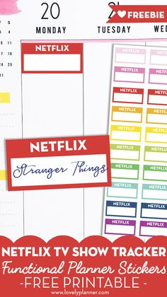 Free Printable Netflix Planner Stickers - TV shows tracker Planner Free, Planner Pages, Happy Planner, Planner Ideas, Printable Planner Stickers, Free Printables, Netflix, Holiday Planner, Passion Planner