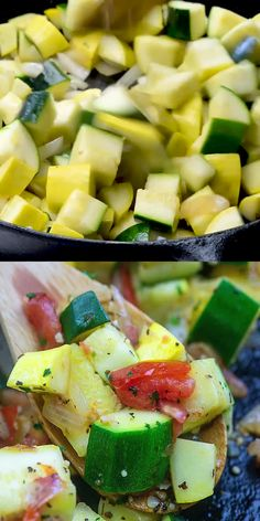Sauteed Zucchini and Squash! So quick and simple and the easiest way to use up all that fresh zucchini! #lowcarb #keto #zucchini #recipe