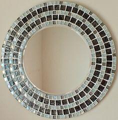 Beautiful Handmade Mosaic  Mirror  Bevelled  Edge Glass  White  Silver  Mosaic  Tile
