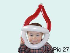 Balloon animals twisting instructions: Santa Claus balloon hat