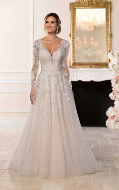 Wedding Dresses Lace Bodice 6436 Affordable Romantic Wedding Dress by Stella York.Wedding Dresses Lace Bodice 6436 Affordable Romantic Wedding Dress by Stella York Wedding Dresses Plus Size, Long Sleeve Wedding, Wedding Dress Sleeves, Best Wedding Dresses, Stunning Wedding Dresses, Designer Wedding Dresses, Bridal Dresses, Princess Wedding Dresses, Lace Sleeves