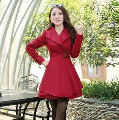Barato Outono de algodão de médio longo casaco Outerwear cáqui, Red, Verde, Compro Qualidade Sobretudos diretamente de fornecedores da China:       M-XXXL Plus Size Clothing 2015 Autumn Winter New Fashion Women's Tops Elegant Lace Trench Coat Ladies