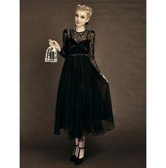 Sexy Elegant Lace Long Sleeve Flounce Hem Prom Dress $199.00