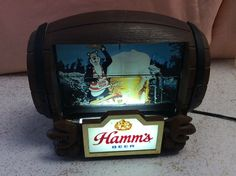 Vintage Hamm's Beer Barrel Rotating Flip Motion Bar Sign with Light Works great!