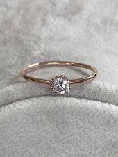 Rings Rose Gold Birthstone Ring Engagement Ring Wedding Rings Rose Gold Birthstone Ring Engagement R Rose Gold Promise Ring, Wedding Rings Rose Gold, Wedding Rings Vintage, Rose Wedding, Crystal Wedding, Floral Wedding, Gold Gold, White Gold, Ring Set