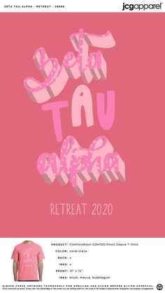 Zeta Tau Alpha Retreat Shirt | Sorority Retreat Shirt | Greek Retreat Shirt #zetataualpha #zeta #zta #Retreat #Shirt #classic #fun #girly #letters Zeta Tau Alpha, Theta, Custom Design Shirts, Sorority And Fraternity, Screen Printing, Colorful Shirts, Greek, Girly, College